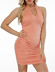 cheap -Women's Plus Size Blushing Pink White Dress Street chic Sophisticated Summer Club Bodycon Solid Colored Off Shoulder V Neck Backless S M Skinny / Cotton / Sexy