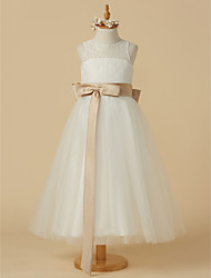 cheap -A-Line Ankle Length Flower Girl Dress - Lace / Tulle Sleeveless Jewel Neck with Bow(s) / Sash / Ribbon / Pleats by LAN TING BRIDE®