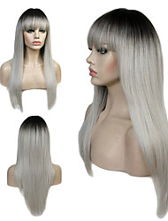 cheap -Synthetic Wig Straight Bob Wig Blonde Long Light Brown Auburn Blonde Grey Strawberry Blonde / Medium Auburn Synthetic Hair Women's 100% kanekalon hair Blonde Light Brown StrongBeauty