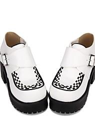cheap -Women's Lolita Shoes Gothic Lolita Punk Wedge Heel Shoes Stripes 8 cm White PU(Polyurethane) Halloween Costumes / Princess