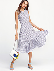 cheap -Women's Plaid White Dress Vintage All Seasons Party Weekend Bodycon Trumpet / Mermaid Check Ruffle M L High Waist / Cotton