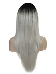 cheap -Synthetic Wig Straight Layered Haircut Wig Ombre Long Silver Synthetic Hair Women's 100% kanekalon hair Ombre StrongBeauty