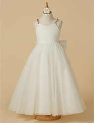 cheap -A-Line Ankle Length Wedding / First Communion Flower Girl Dresses - Lace / Tulle Sleeveless Straps with Bow(s) / Beading