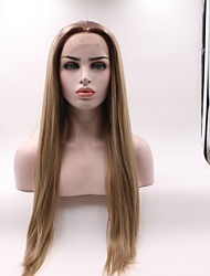 cheap -Synthetic Lace Front Wig Straight Layered Haircut Lace Front Wig Black / Blonde Medium Length Black / Brown Synthetic Hair Women's Curler & straightener Black / Blonde Skyworth