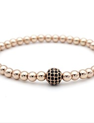 cheap -Cubic Zirconia Bead Bracelet Ladies Copper Bracelet Jewelry Silver / Dark Gray / Rose Gold For Gift Daily