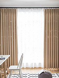 cheap -Blackout Curtains Drapes Two Panels Bedroom Solid Colored Polyester Blend Embossed