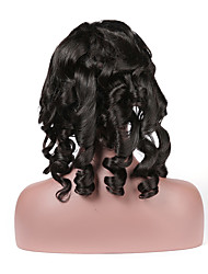cheap -Remy Human Hair Full Lace Wig style Brazilian Hair Loose Curl Wig 130% Density with Baby Hair Natural Hairline Bleached Knots Women's Short Human Hair Lace Wig