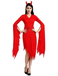 cheap -Witch Costume Unisex Halloween Halloween Masquerade Day of the Dead Festival / Holiday Polyster Outfits Red Solid Colored Halloween