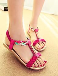 cheap -Women's Sandals Flat Heel Round Toe TPU / PU(Polyurethane) Comfort Spring & Summer Beige / Fuchsia / Blue / Color Block