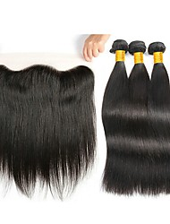 cheap -3 Bundles with Closure Indian Hair Straight Human Hair Hair Weft with Closure Natural Color Human Hair Weaves Gift Soft New Arrival Human Hair Extensions / 8A
