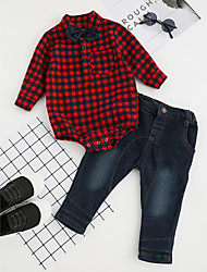 cheap -Toddler Boys' Bow Check Dresswear Party Daily Formal Plaid Long Sleeve Regular Regular Cotton Clothing Set Red