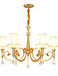 cheap -QIHengZhaoMing 6-Light 70 cm Crystal Chandelier Metal Fabric Candle-style Brass Chic & Modern 110-120V / 220-240V