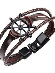 cheap -Men's Bracelet Bangles Leather Bracelet Bracelet Geometrical Classic Vintage Leather Bracelet Jewelry White / Black / Brown For Gift Street / Handmade Link Bracelet