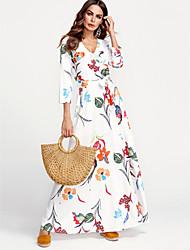 cheap -Maxi Beach Dress Floral Print Women's Floral Plus Size Dress Floral White, Print V Neck Cotton White XL XXL XXXL