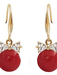 cheap -Cubic Zirconia Drop Earrings Bowknot Ladies Classic Sweet Fashion Pearl Imitation Pearl Earrings Jewelry White / Red For Birthday Daily