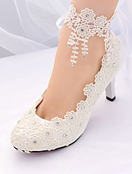 cheap -Women's Wedding Shoes Stiletto Heel Pointed Toe Rhinestone / Tassel Lace Basic Pump / Ankle Strap Spring & Summer White / EU41