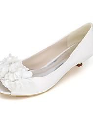 cheap -Women's Wedding Shoes Kitten Heel Peep Toe Satin Flower Satin Basic Pump Spring & Summer White / Purple / Champagne / Party & Evening / EU42