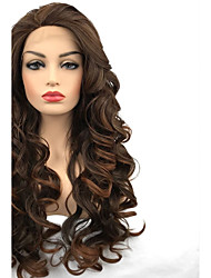 cheap -Synthetic Lace Front Wig Curly Middle Part Lace Front Wig Long Dark Brown / Medium Auburn Synthetic Hair Women's 100% kanekalon hair Highlighted / Balayage Hair Black StrongBeauty