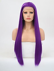 cheap -Synthetic Lace Front Wig Straight Layered Haircut Lace Front Wig Long Purple Synthetic Hair Women's Natural Hairline Purple
