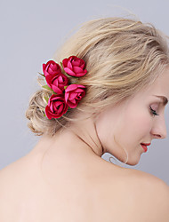cheap -Fabrics Hair Pin with Flower 6pcs Wedding / Party / Evening Headpiece