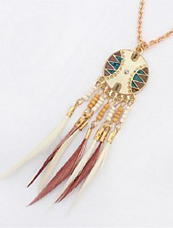 cheap -Synthetic Tanzanite Pendant Necklace Chain Necklace Thick Chain Feather Ladies Fashion Native American Resin Feather Alloy Black Rainbow Coffee Light Blue 72 cm Necklace Jewelry For Holiday Street