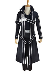 cheap -Inspired by SAO Swords Art Online Kirito Anime Cosplay Costumes Japanese Cosplay Suits Solid Colored Long Sleeve Coat Pants Gloves For Men's Women's / T-shirt / Belt / Strap / Belt / T-shirt