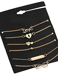 cheap -6pcs Women's Chain Bracelet Charm Bracelet Geometrical Heart Ladies Vintage Metal Bracelet Jewelry Gold For Street Date