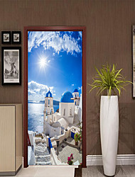 cheap -Mediterranean Scenery Door Stickers Decorative Waterproof Door Decal Decor