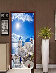 cheap -Mediterranean Scenery Door Stickers Decorative Waterproof Door Decal Decor