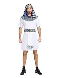 cheap -Egyptian Costume Men's Halloween Costume For Polyster Solid Colored Striped Halloween Halloween Carnival New Year Leotard / Onesie Belt Hat / Neckwear