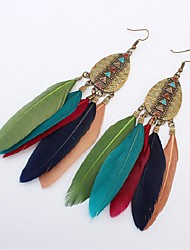 cheap -Synthetic Tanzanite Drop Earrings Hanging Earrings Feather Ladies Vintage Fashion Oversized Native American Feather Earrings Jewelry Green / Wine / Light Pink For Street Birthday