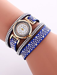 cheap -Women's Bracelet Watch Wrap Bracelet Watch Quartz Quilted PU Leather Black / White / Blue Casual Watch Imitation Diamond Analog Ladies Casual Fashion - Brown Red Blue One Year Battery Life