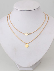 cheap -Chain Necklace Layered Necklace Layered Thick Chain Bird Peace Ladies Alloy Gold 52 cm Necklace Jewelry For Daily