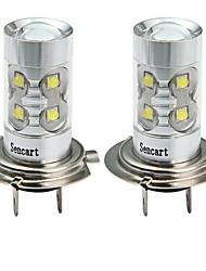 cheap -SENCART 2pcs H7 Motorcycle / Car Light Bulbs 50W SMD LED 3100lm 10 LED Fog Light For universal All years