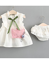 cheap -Baby Girls' Active Daily Solid Colored Bow Sleeveless Regular Cotton Clothing Set White