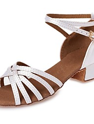 cheap -Girls' Dance Shoes Silk Latin Shoes Ribbon Tie Heel Chunky Heel Customizable White / Leather / Professional