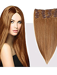 cheap -Febay Clip In Human Hair Extensions Straight Human Hair Human Hair Extensions 14-24 inch Blonde Brown 7pcs / pack Multi Color Shedding Free Tangle Free Women's Medium Brown / Bleached Blonde