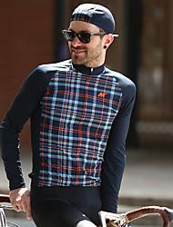 cheap -Mysenlan Men's Long Sleeve Cycling Jersey Plaid / Checkered Bike Jersey Mountain Bike MTB Road Bike Cycling Sports Polyester Taffeta Clothing Apparel / Micro-elastic / Expert / Expert