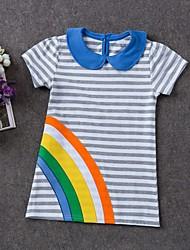 cheap -Toddler Girls' Basic Striped Short Sleeve Dress Light gray