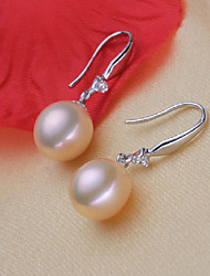 cheap -Women's Pearl Freshwater Pearl Drop Earrings Simple Natural Elegant S925 Sterling Silver Freshwater Pearl Earrings Jewelry White For Party Gift