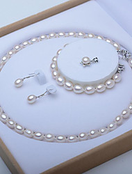 cheap -White Freshwater Pearl Jewelry Set Beaded Single Strand Bridal Set Ladies Elegant Vintage For Mother's Day Mom Silver Earrings Jewelry White For Wedding Party Gift