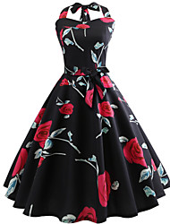 cheap -Women's Daily Going out Vintage Slim Swing Dress - Floral Print Halter Neck Spring Cotton Black L XL XXL
