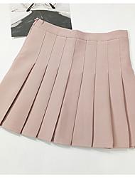 Недорогие -Жен. А-силуэт Подол, На выход Однотонный Завышенная Розовый Серый Светло-синий M L XL
