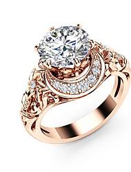 Недорогие -Жен. Обручальное кольцо Синтетический алмаз Светло-коричневый Медь Позолоченное розовым золотом Металл Круглый Геометрической формы Массивный Дамы Богемные Свадьба Для вечеринок Бижутерия / Пасьянс