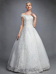 cheap -Ball Gown Off Shoulder Floor Length Lace Over Tulle Short Sleeve Sparkle & Shine / Floral Lace Made-To-Measure Wedding Dresses with Beading / Sequin / Appliques 2020