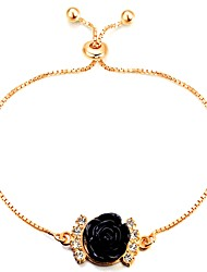 cheap -Women's Chain Bracelet Floating Flower Ladies Classic Vintage Fashion Resin Bracelet Jewelry Black For Daily Office & Career