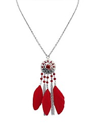 cheap -Cubic Zirconia Pendant Necklace Chain Necklace Thick Chain Feather Ladies Vintage Fashion Native American Feather Alloy White Black Red Rainbow 70 cm Necklace Jewelry For Holiday Going out