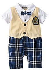 cheap -Baby Boys' Basic Daily Patchwork Patchwork Short Sleeves Cotton Romper Yellow / Toddler