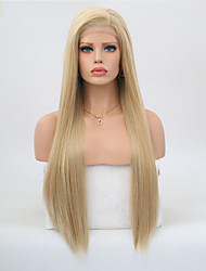 cheap -Synthetic Lace Front Wig Straight Minaj Style Layered Haircut Lace Front Wig Golden Strawberry Blonde / Light Blonde Synthetic Hair Women's Heat Resistant Golden Wig Long / Yes