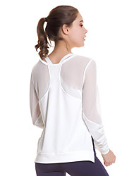 cheap -Women's See Through Mesh Yoga Shirt Running Fitness Quick Dry Breathability Sportswear Top Long Sleeve Activewear Stretchy / Elastane